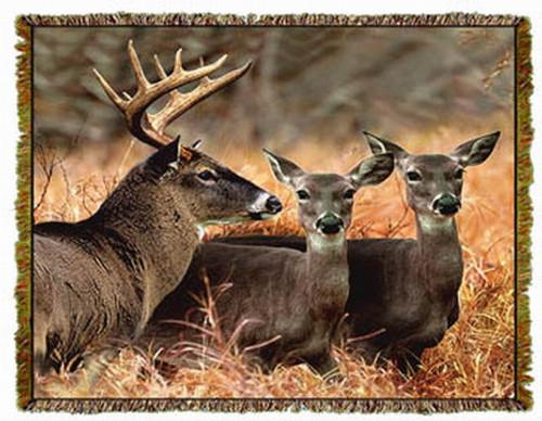 Buck with Doe Deer Afghan or Throw MS-1247TU4