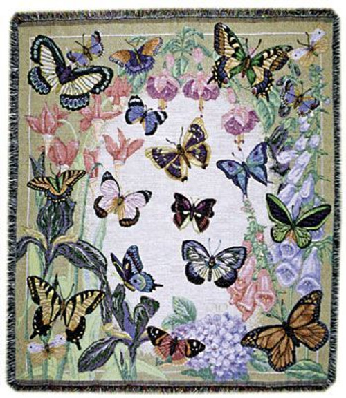 Butterflies Are Free Cotton Tapestry Throw
