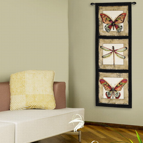 Fine Art Tapestries Butterfly Dragonfly I  Wall Hanging