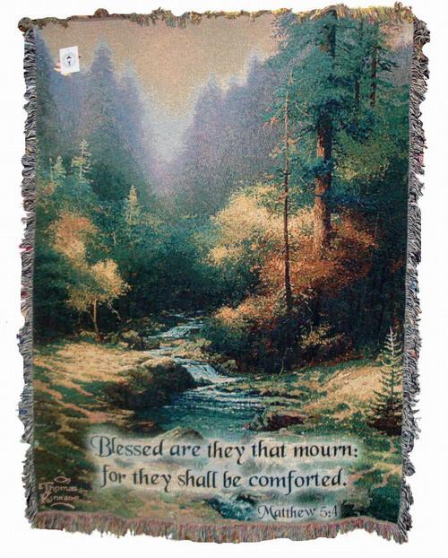 Thomas Kinkade Creekside Trail Tapestry Throw with Verse