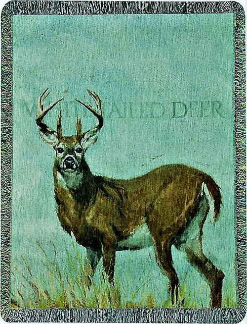 White-tailed Deer Cotton Tapestry Throw