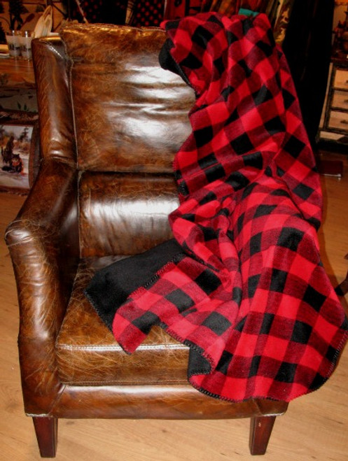 Large Bunk House Plaid/Black #937 50x60 Inch Throw Blanket