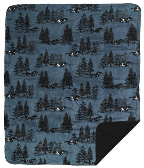 Denali Horse Flight/Black MicroPlush Pillow or Throw