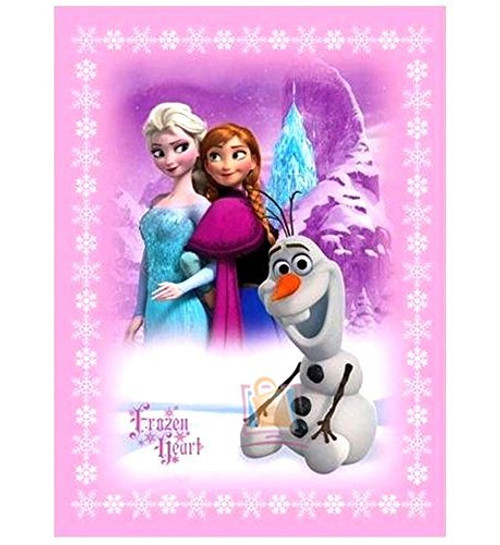 Disney Frozen Heart Blanket with Elsa Anna and Olaf Twin Size