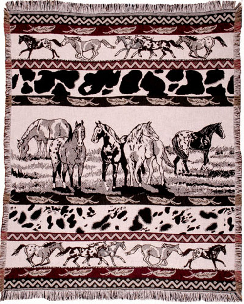 Paints Horse Cotton Throw