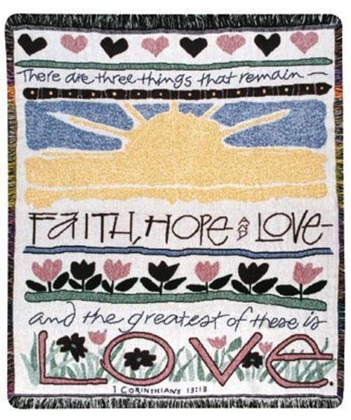 Faith Hope and Love woven cotton throw