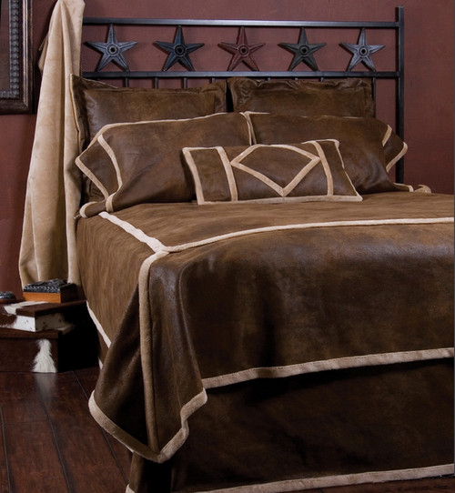 Wyoming Faux Suede and Shearling Twin Bedding Set
