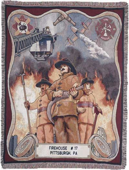 Firefighter Cotton Tapestry Throw