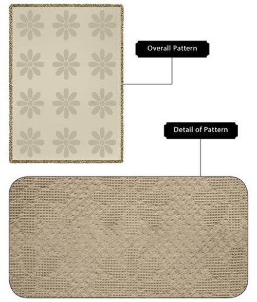 Organic Cotton Flowers Mini Natural Woven Blanket
