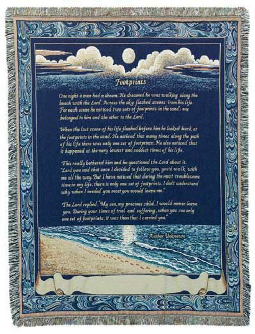 Footprints in the Sand Cotton Tapestry Throw Blanket