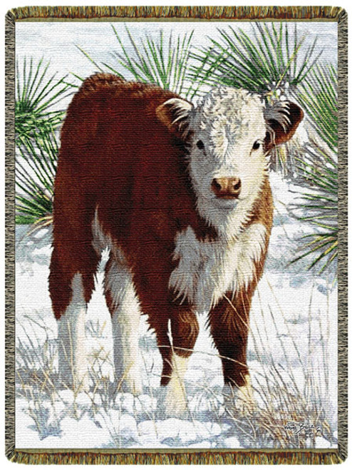 Frosty Morn Cow Tapestry Throw