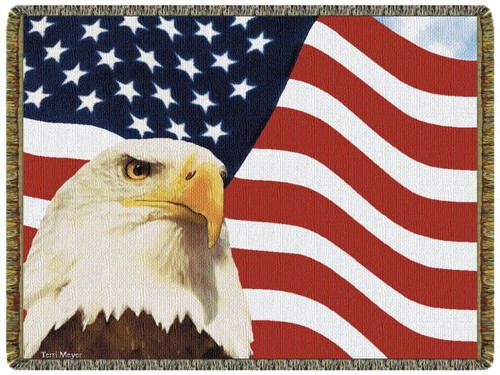 God Bless America Bald Eagle Tapestry Throw