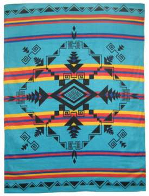 Gods Eye Turquoise Polar Fleece Blanket