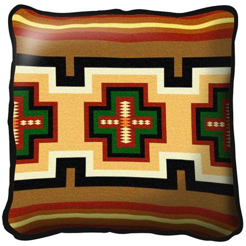 Southwest Geometric Green and Red Tapestry Pillow
