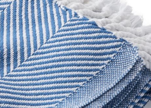 Brahms Mount Cotton Herringbone Throw in Baha Blue and White