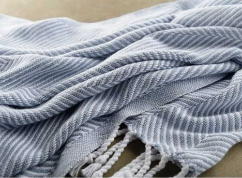 Herringbone Cotton Throw with Hand Twisted Fringe in 32 Colors