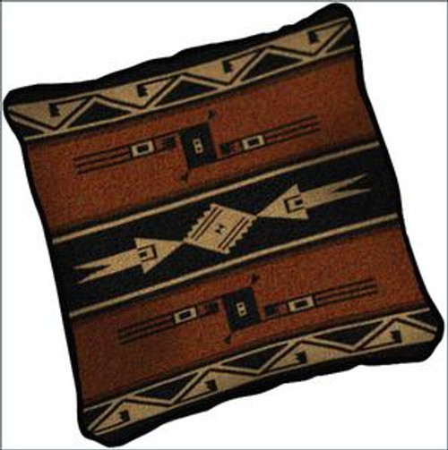 Southwest Geometric Black and Russet (Mesquite Earth) Tapestry Pillow