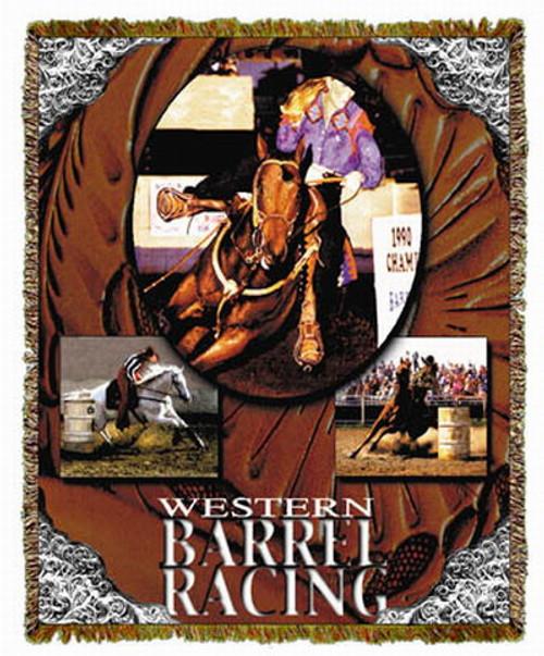 Horse Western Barrel Racing Tapestry Throw MS-9906TU3