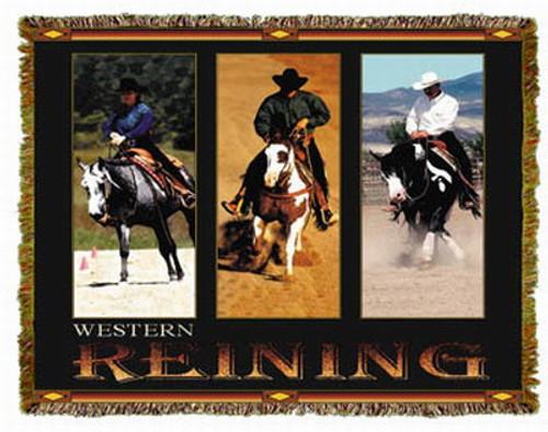 Horse Western Reining Tapestry Throw MS-9907TU3