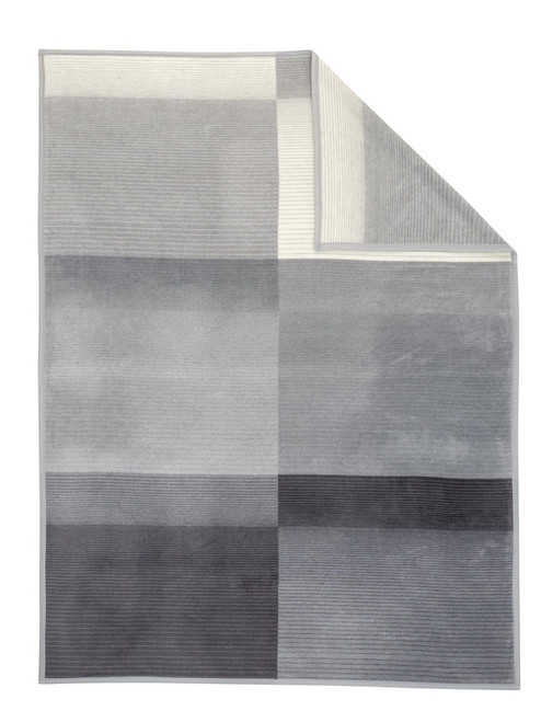 Ibena Sorrento Grey Blocks and Stripes Blanket