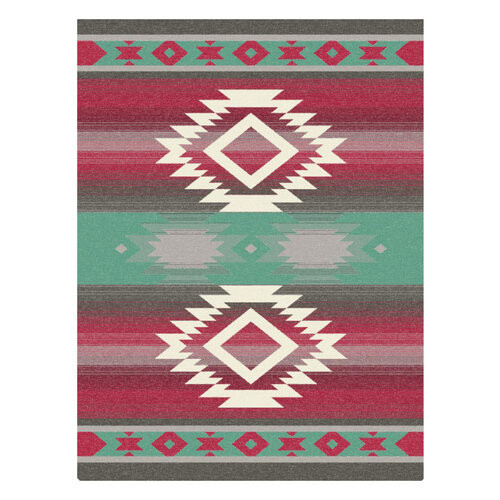 Ibena Carrizo Blanket Teal and Red