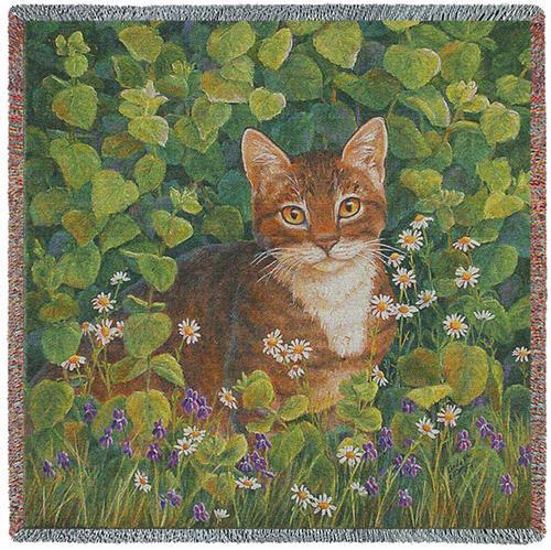 In Lemon Balm Cat Tapestry Lap Square