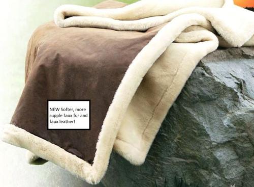 Kanata Vintage Faux Leather and Faux Fur Throw