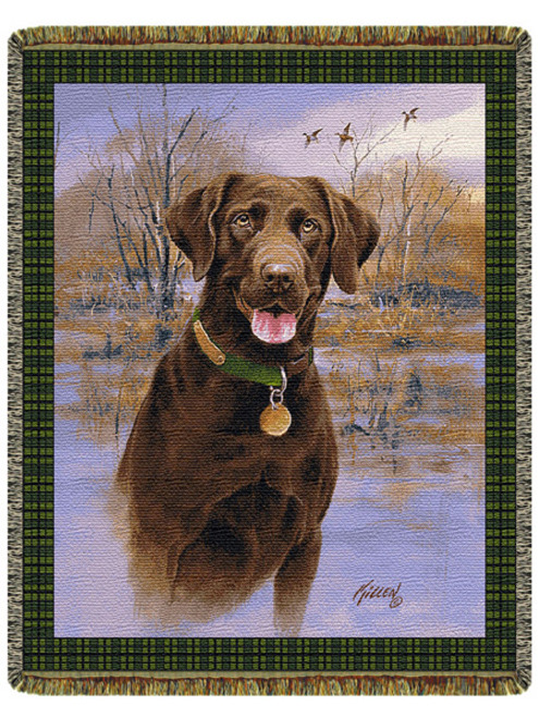 Companion Chocolate Labrador Tapestry Throw Blanket