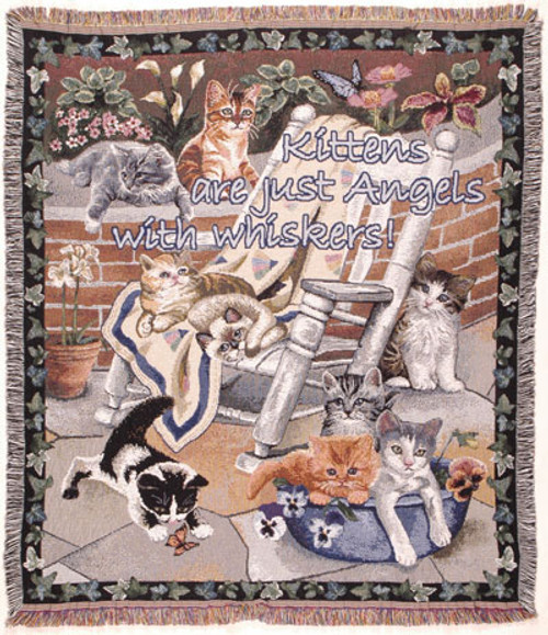 Kittens Are Angels Tapestry Throw