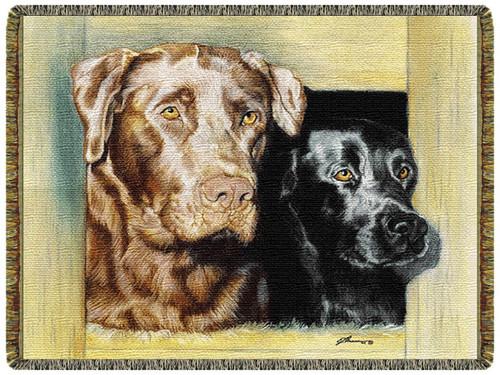 Loyal And Hardy Labrador Retriever Tapestry Throw