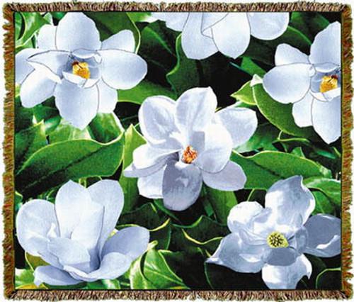 Magnolia Flower Tapestry Afghan or Throw MS 2967TU4