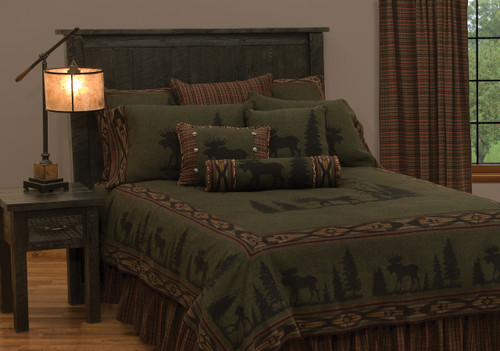Wooded River Moose 1 Bedspread