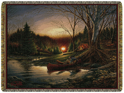 Morning Solitude Tapestry Throw by Terry Redlin