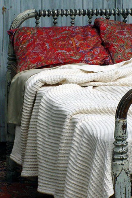 Natural Cotton Rib Full Luxury Bed Blanket