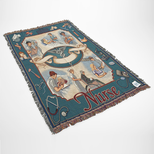 Nurse Cotton Tapestry Throw Blanket