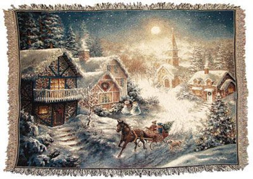 One Horse Open Sleigh Tapestry Throw