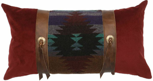 Wooded River Painted Desert fabric and Leather Rectangle Pillow
