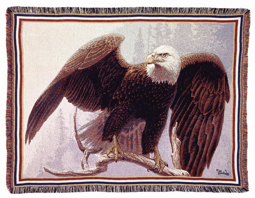 The Perch Bald Eagle Tapestry Throw by Al Agnew
