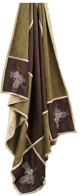 Pine Cone Grid Faux Leather Throw Blanket