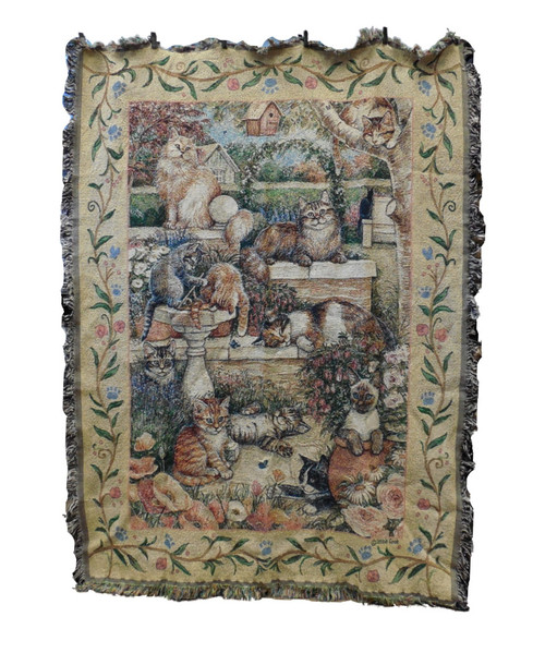 Purrfect Garden Cat Tapestry Throw
