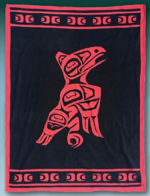Raven Native American design Polar Fleece Blanket