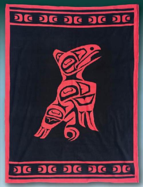 Raven Native American design Polar Fleece Blanket
