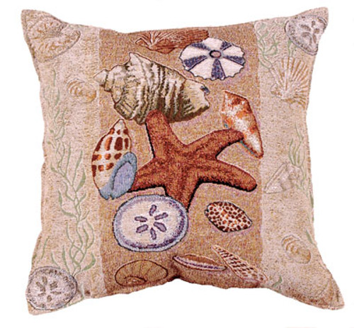 Seashell Collection Tapestry Pillow