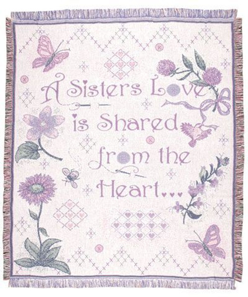 Sisters Love Cotton Throw Blanket made in the USA