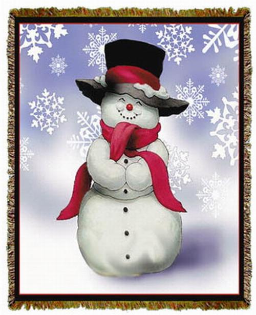 Smilin Snowman Tapestry Throw