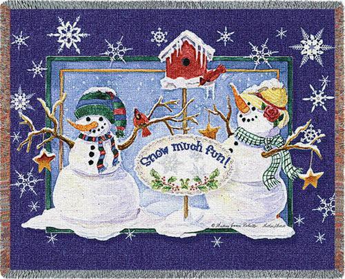 Snow Much Fun Snowman Tapestry Throw