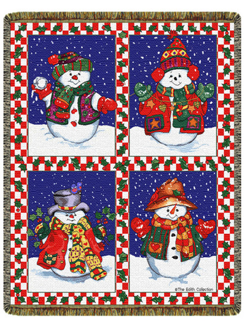 Snowmans Holiday Tapestry Throw