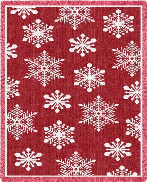 Snowflakes Red Woven Throw