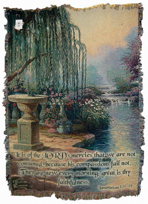 Thomas Kinkade Hour of Prayer Scripture Tapestry Throw