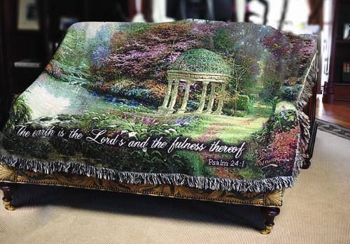 Thomas Kinkade The Garden of Prayer Tapestry Throw
